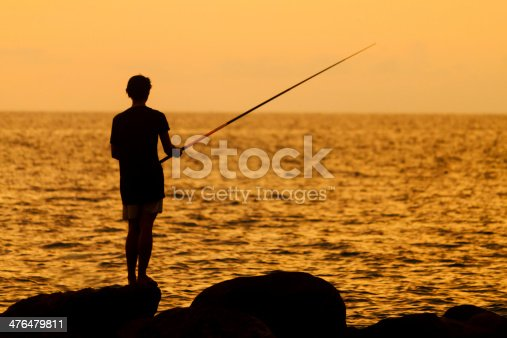 688562434 istock photo Silhouette of a fisherman at sunset 476479811