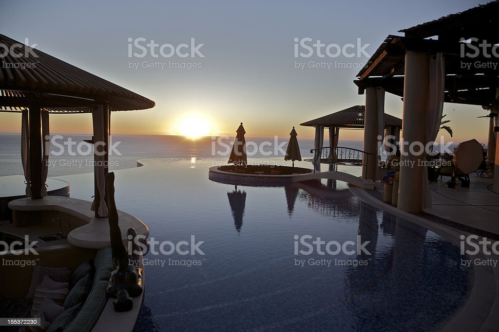 Silhouette of a Gazebo at Sunrise royalty-free stock photo