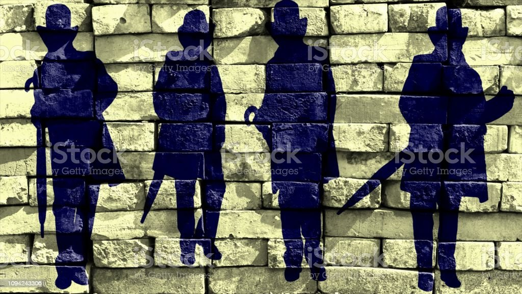 Silhouette of a gentleman in a hat and a coat with an umbrella in different poses on a yellow background. Virtual graffiti. Image, drawn on a photo of a brick wall. stock photo
