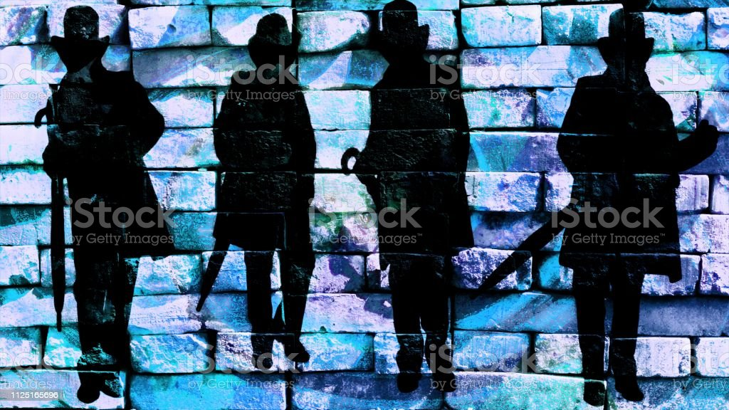 Silhouette of a gentleman in a hat and a coat with an umbrella in different poses on a blue background. Virtual graffiti. Image, drawn on a photo of a brick wall. stock photo