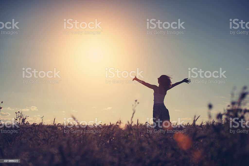 Silhouette of a girl in the field stock photo