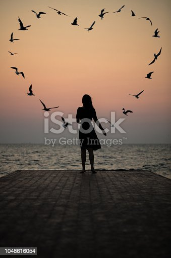 Silhouette of a girl on a sunset background (sunrise) on the sea, horizon line. Summer walk on the beach.