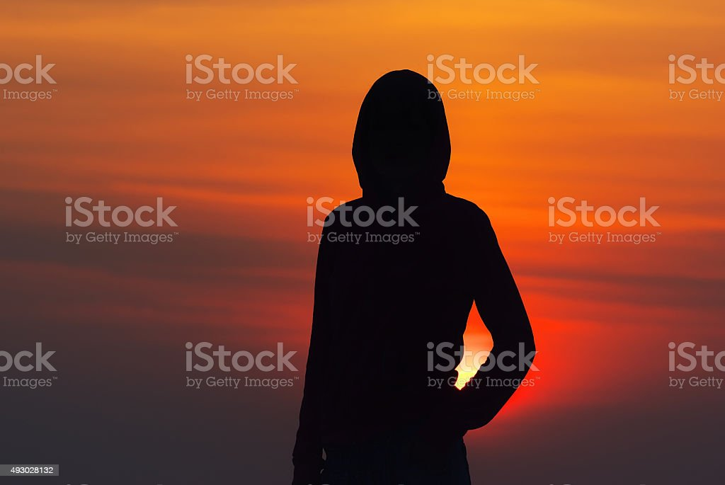 silhouette of a girl stock photo
