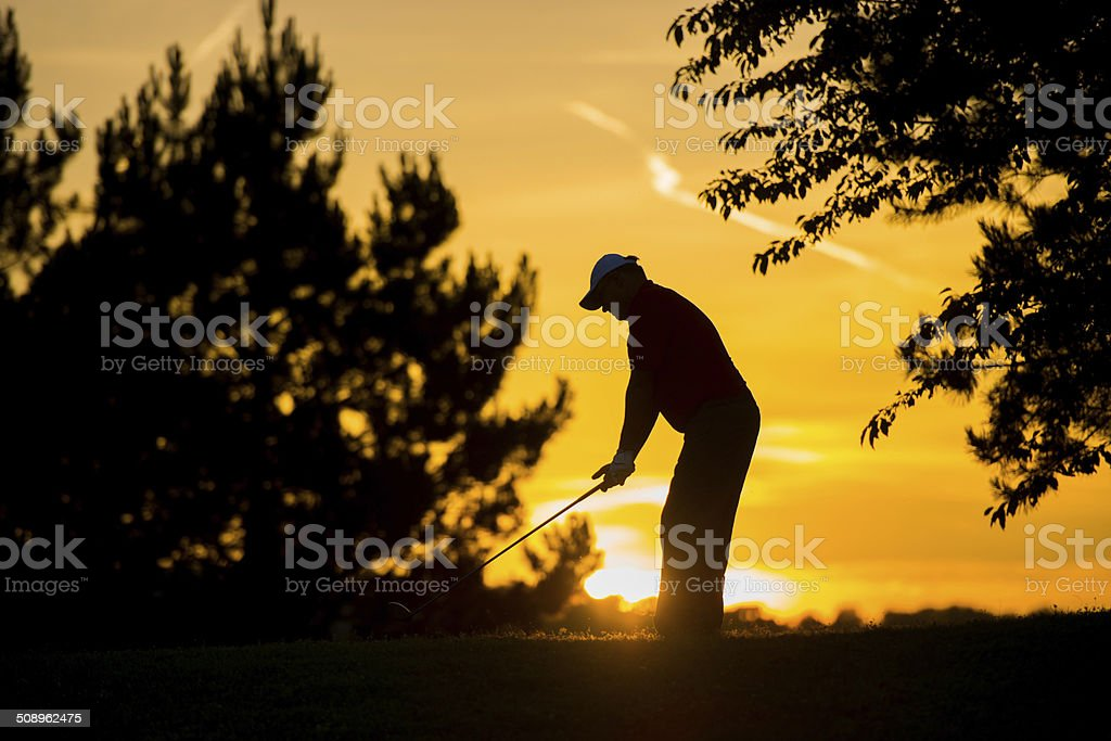Silhouette Of A Golfer stock photo
