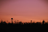 istock Silhouette of a Guard tower against the evening sky 1215632144