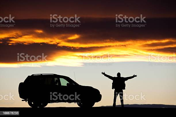 Silhouette of a happy man on a road trip picture id166678233?b=1&k=6&m=166678233&s=612x612&h=tfydyb0gy9l06htzjkw4zj6ggj6ocm dpwyiph06bsc=