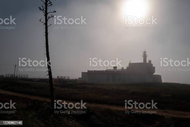 Photo of Silhouette of a lighthouse in the fog on the Portuguese Atlantic coast.