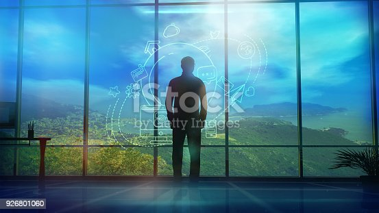 Silhouette of a Man and Infographics on Internet and Social Media themes