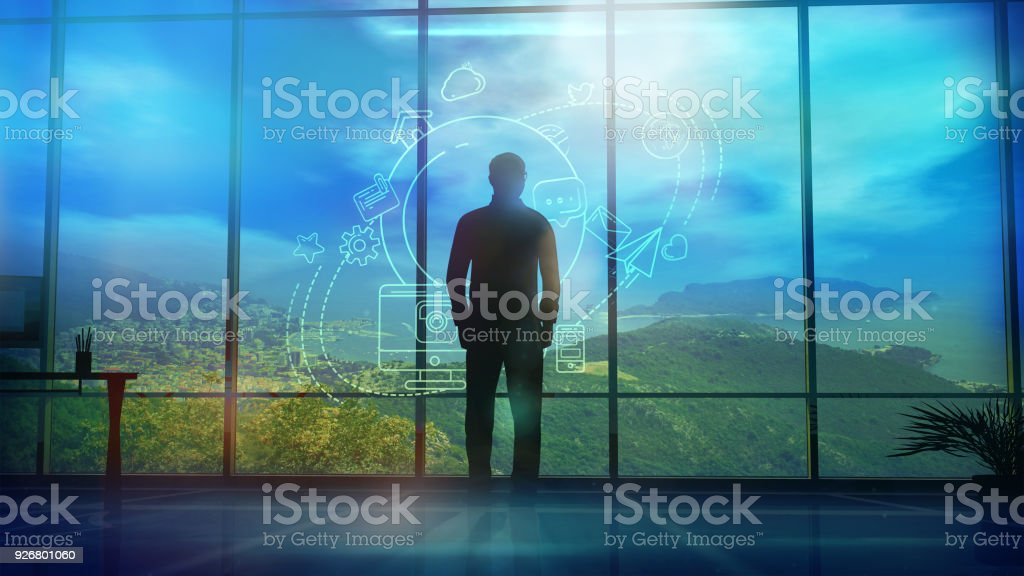 Silhouette of a Man and Infographics on Internet and Social Media themes stock photo