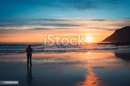 woman, sunset, sea, silhouette, mountains