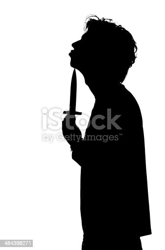 silhouette of a young man attempting suicide with steel knife isolated on white background