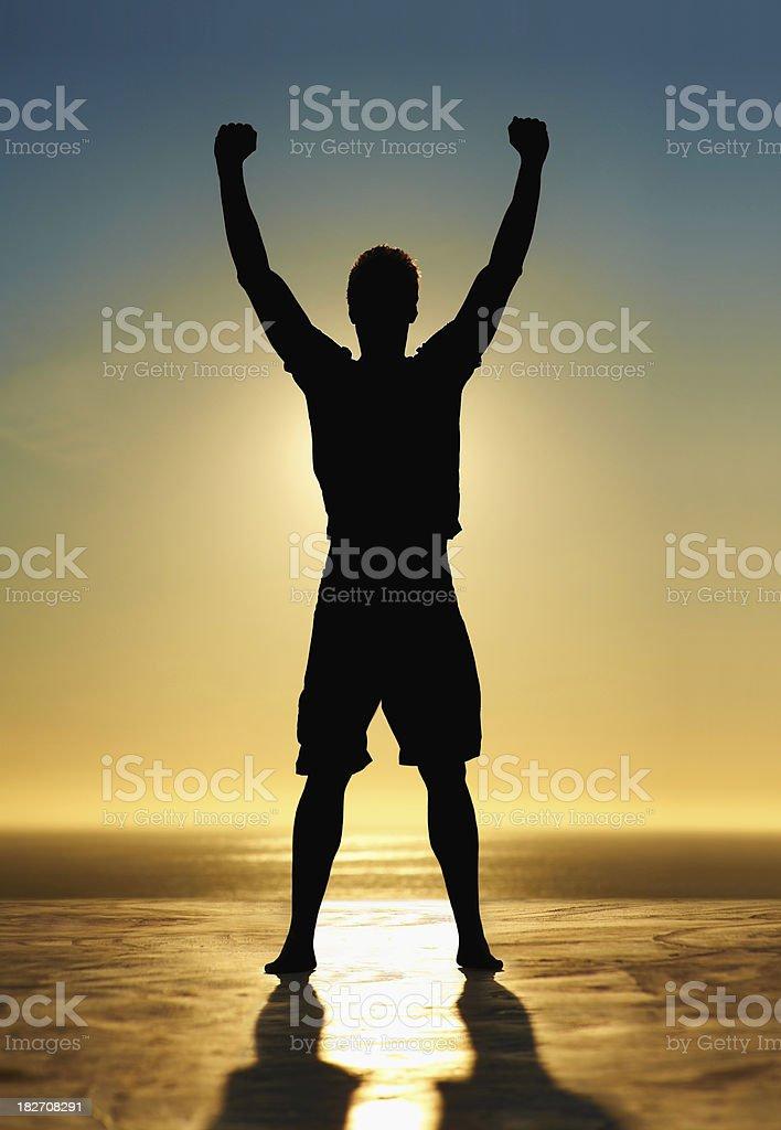 Silhouette of a man enjoying success on beach royalty-free stock photo