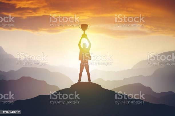 Silhouette Of A Man Holding A Trophy At Sunset - Fotografias de stock e mais imagens de Amor