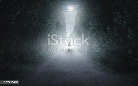 Male person walking alone in misty forest fairytale