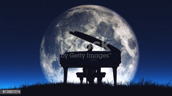 istock Silhouette of a  man playing the piano 612507274