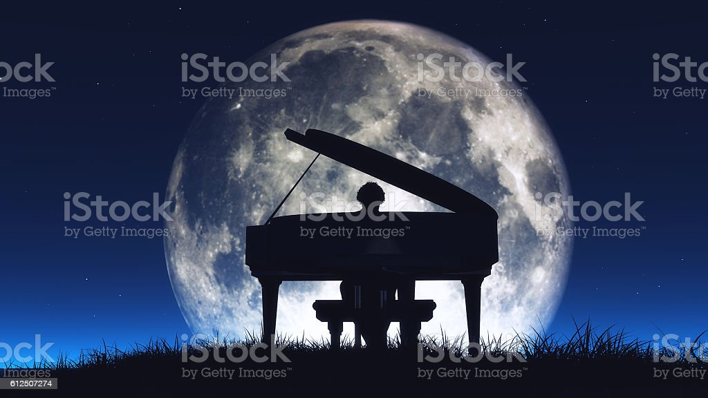 Silhouette of a  man playing the piano stock photo