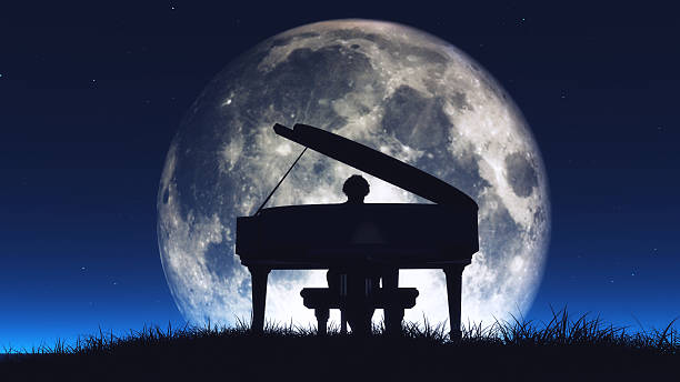 Silhouette of a  man playing the piano Silhouette of a  man playing piano in the middle of the night with the huge moon in background. This is a 3d render illustration pianist stock pictures, royalty-free photos & images