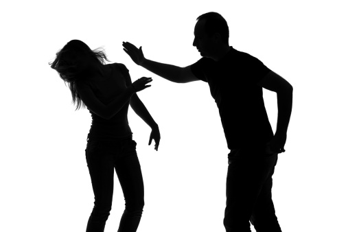 Silhouette Of A Man Slapping His Woman Stock Photo - Download Image Now -  iStock