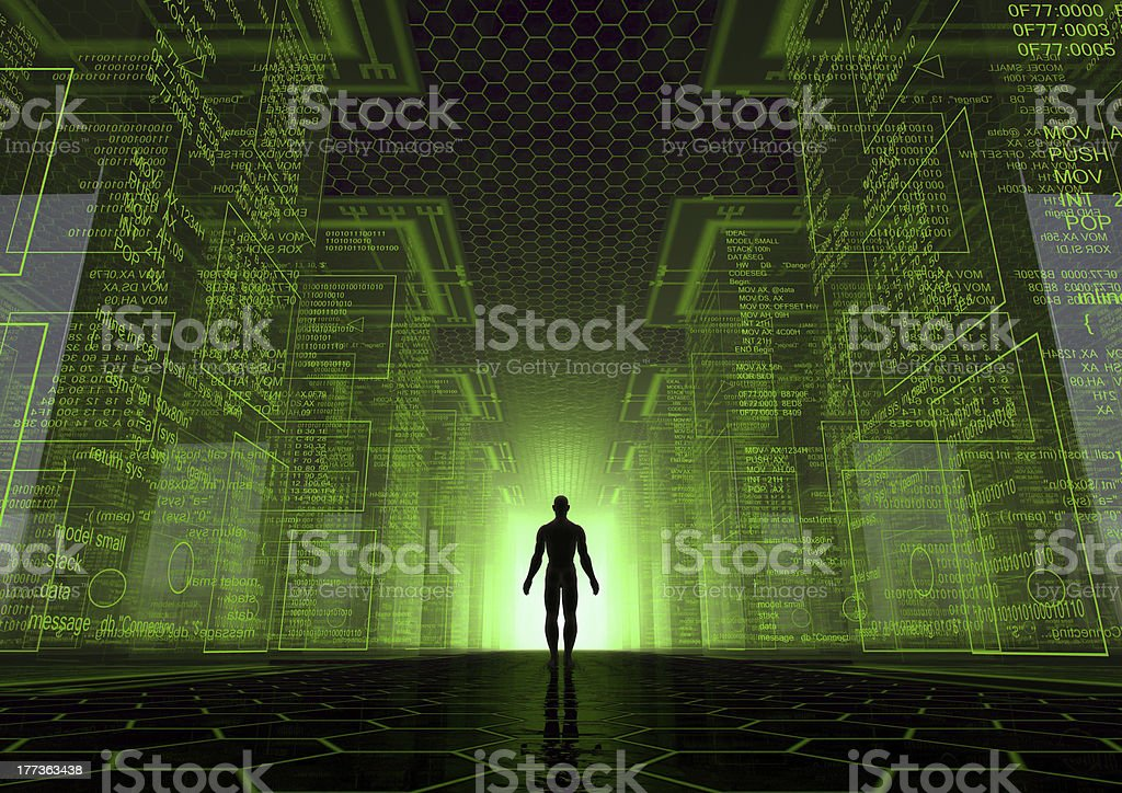Silhouette of a man standing between pillars of information stock photo