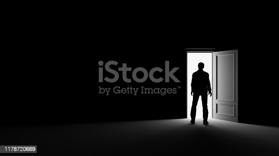 Silhouette of a man standing in a dark room lit by bright light. 3d rendering