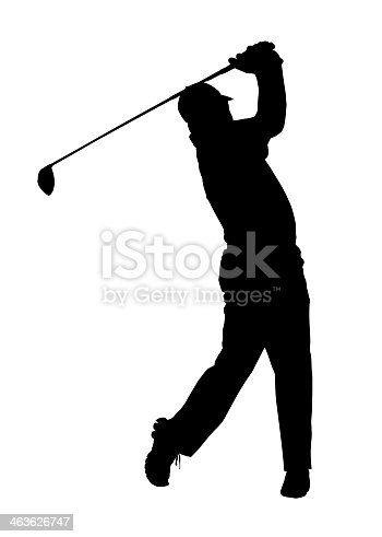 istock A silhouette of a man swinging a gold club 463626747