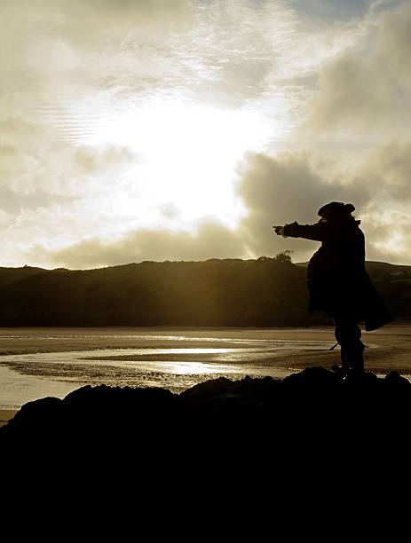 silhouette of a pirate pointing out to sea - swashbuckler stock photos and pictures