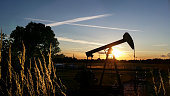 Silhouette of a pumpjack