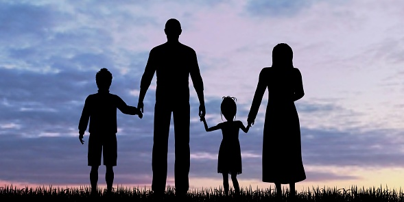 Silhouette Of A Refugees Family With Children Stock Photo - Download Image Now