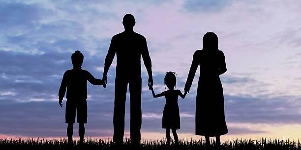 silhouette of a refugees family with children - karte ziehen stock-fotos und bilder
