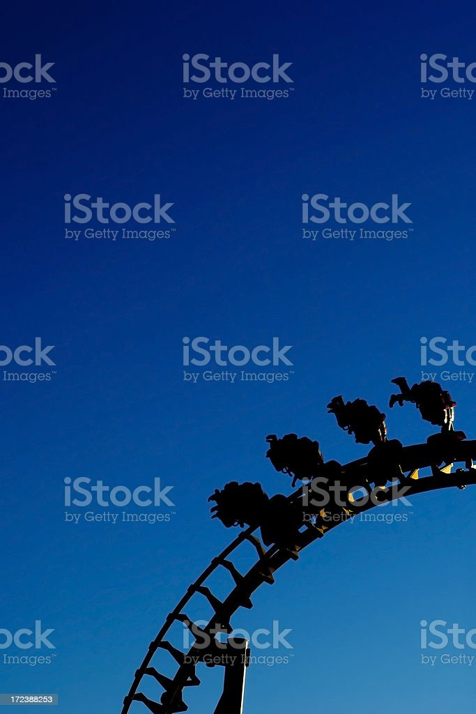Silhouette of a rollercoaster royalty-free stock photo