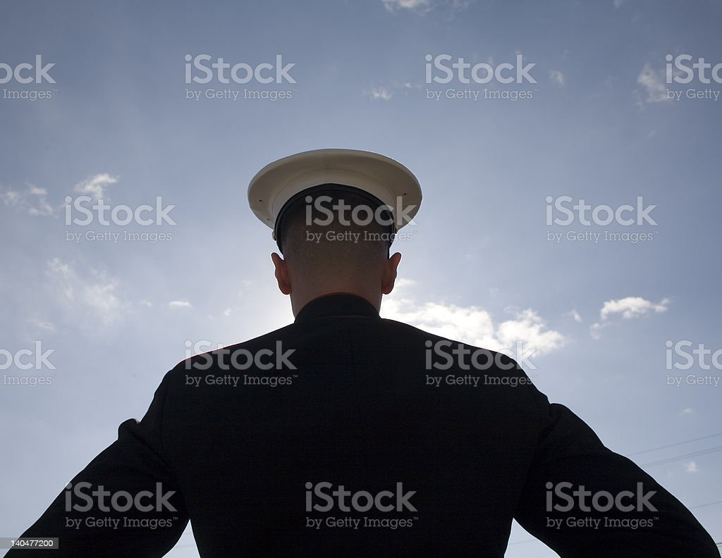 Silhouette of a soldier stock photo