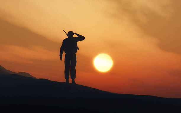 silhouette of a soldier saluting - saluting stock photos and pictures
