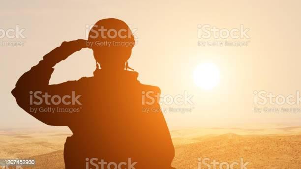 중동의 사막에서 일출에 대해 경례 하는 솔더의 실루엣 개념 아랍 에미리트 이스라엘 이집트의 무장 세력 Armed Forces Day에 대한 스톡 사진 및 기타 이미지