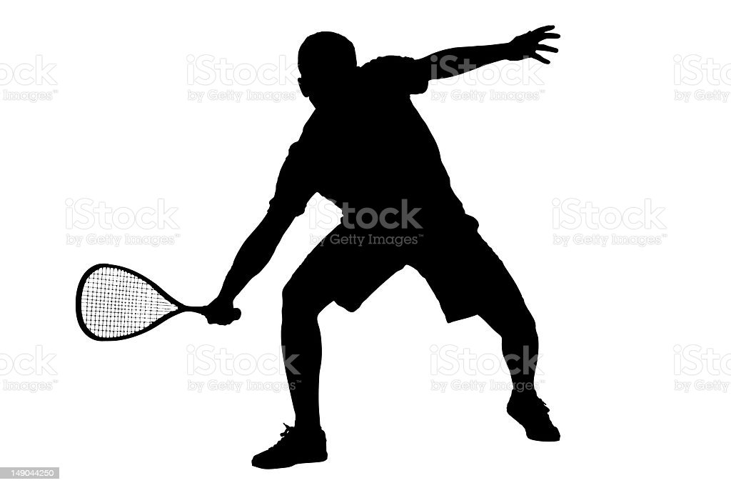 Silhouette of a squash player stock photo