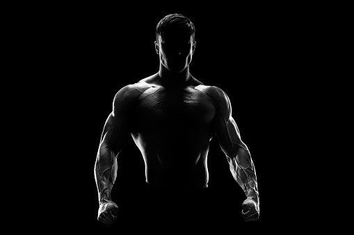istock Silhouette of a strong fighter 479009182