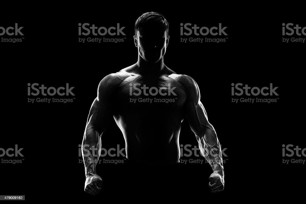 Silhouette d'un solide battant - Photo