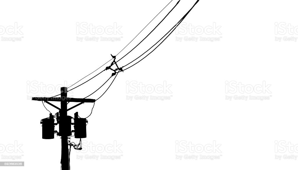 Silhouette of a Telephone Pole stock photo