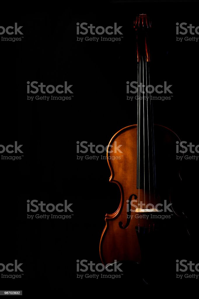 Silhouette of a violin on a black background royalty-free stock photo