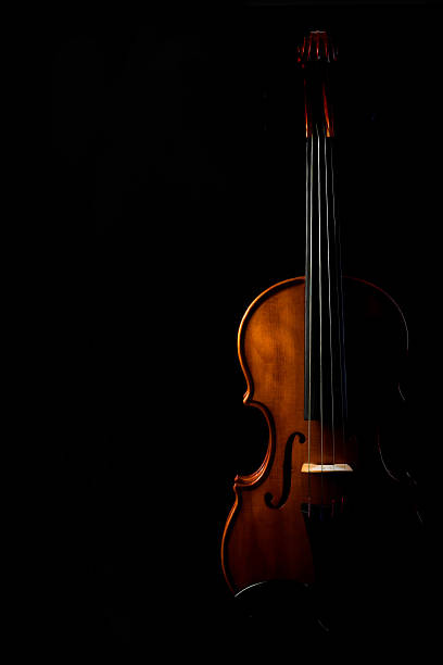 Silhouette of a violin on a black background stock photo