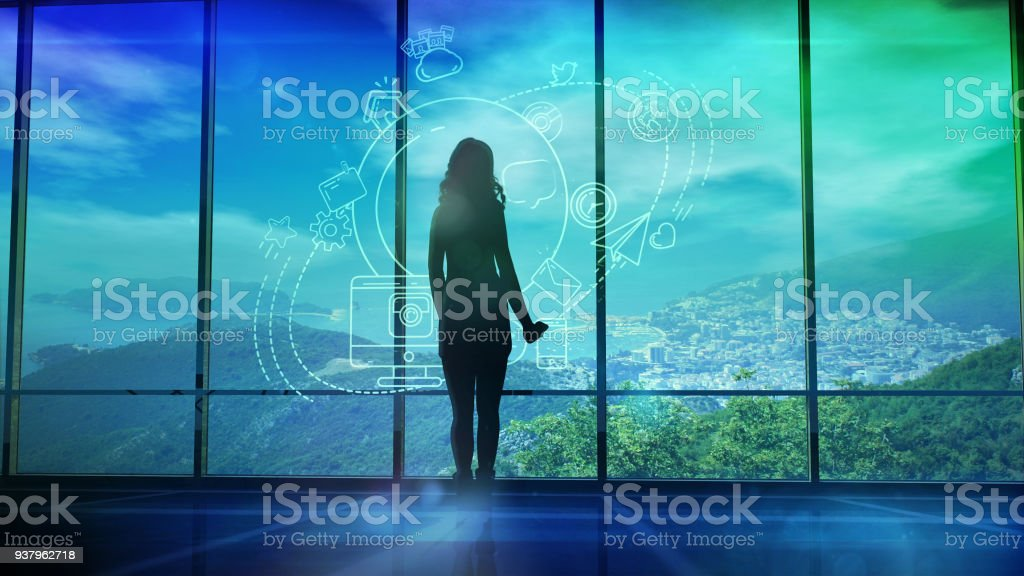 Silhouette of a Woman and Infographics on Internet and Social Media themes stock photo