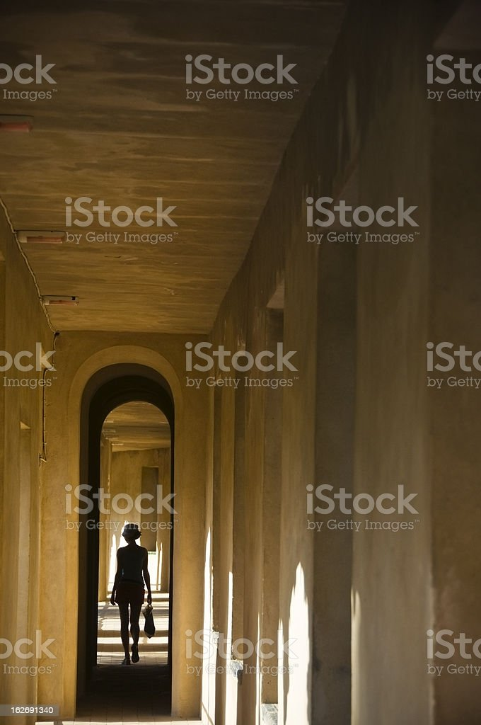 Silhouette of a woman in Alcazar Palace royalty-free stock photo