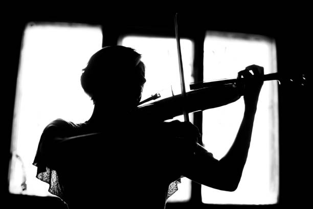 silhouette of a woman playing violin stock photo