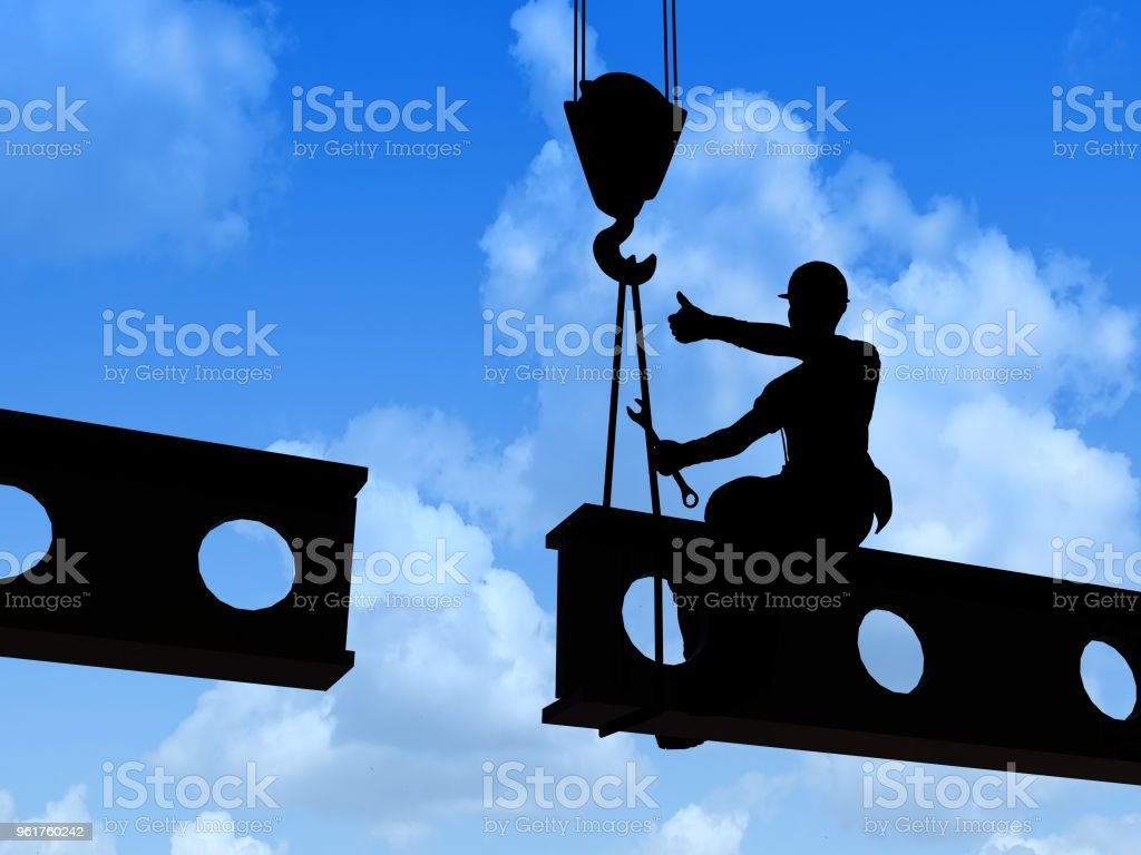 Silhouette of a worker stock photo