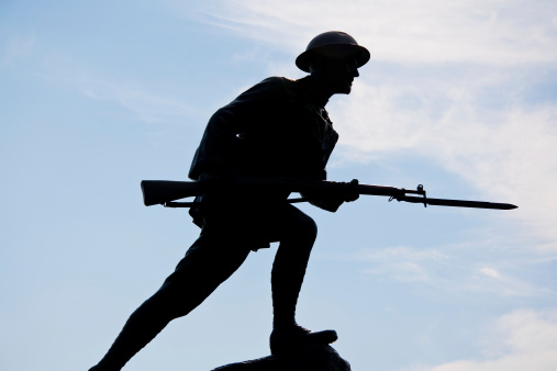 Silhouette of a World War One Doughboy Soldier