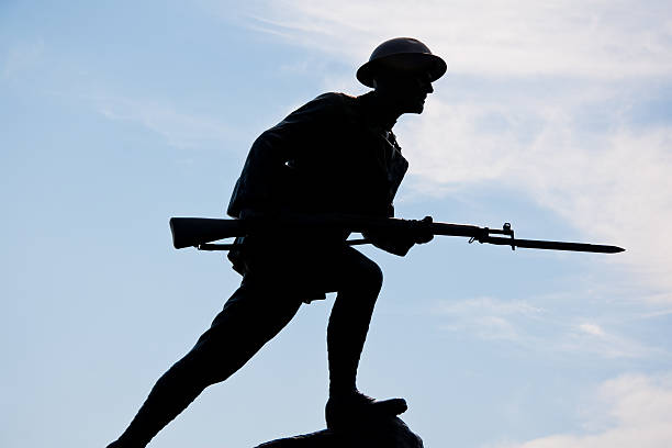 Silhouette of a World War One Doughboy Soldier stock photo