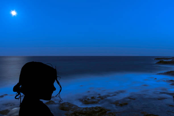 silhouette of a young girl with the moon over the ocean in los cocoteros - hair line surface stock photos and pictures