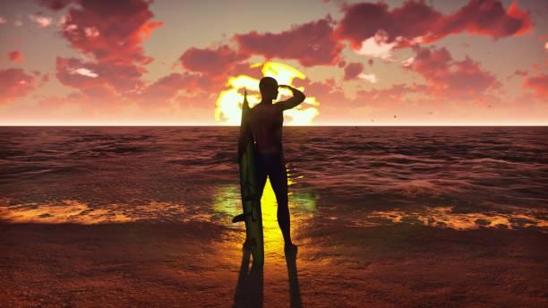 silhouette des jungen männlichen surfer am strand bei sonnenaufgang mit einem surfbrett stehend und beobachten die wellen des ozeans. schönen sommer hintergrund. 3d rendering - digital surfer stock-fotos und bilder