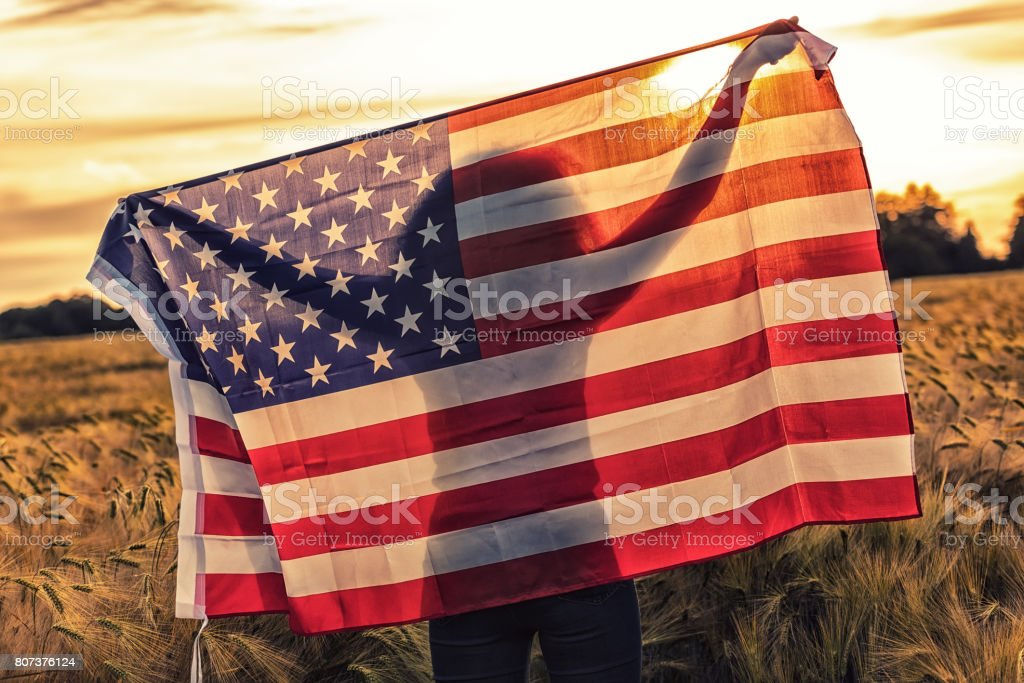 Silhouette of African American girl teenager female young woman in field of wheat or barley crops holding USA stars and stripes flag in golden sunset evening sunshine stock photo