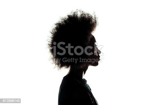 istock silhouette of african american woman with afro hairstyle isolated on white 912568140