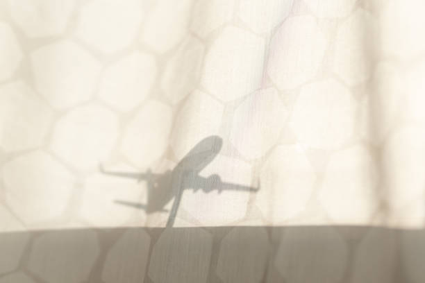 Silhouette of airplane model stock photo